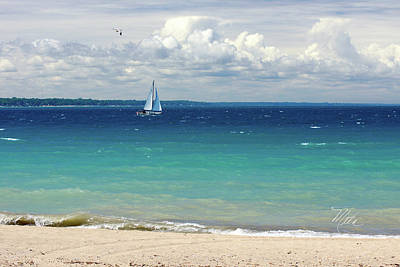 Print featuring the photograph Lake Huron Sailboat by Meta Gatschenberger