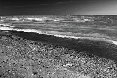 Photograph - Lake Huron Windy Day Bw by Mary Bedy