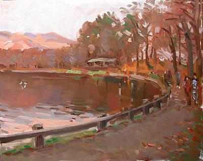 Autumn Painting - Lake In Bear Mountin by Ylli Haruni