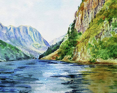 Mountain Royalty-Free and Rights-Managed Images - Lake In The Mountains Watercolor by Irina Sztukowski