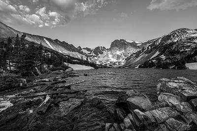 Photograph - Lake Isabelle Black And White by Aaron Spong