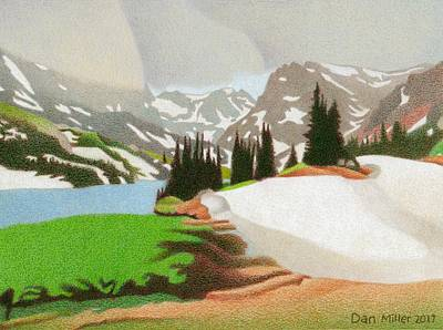 Drawing - Lake Isabelle Storm by Dan Miller