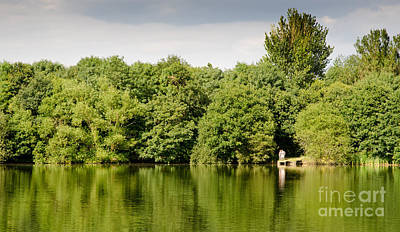 Lake Jetty Dinton Pastures Lakes And Nature Reserve Shore Line Art Print by Andy Smy
