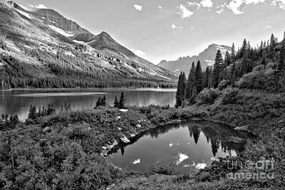 Photograph - Lake Josephine Summer Sunset Black And White by Adam Jewell
