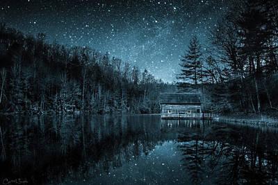 Lake Julia Cabin Under A Starry Night Sky Art Print
