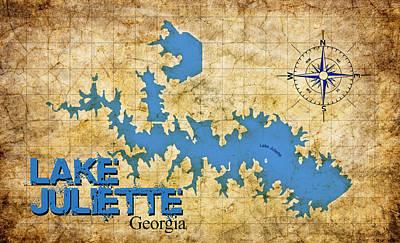 Digital Art - Lake Juliette Ga - Vintage Print by Greg Sharpe