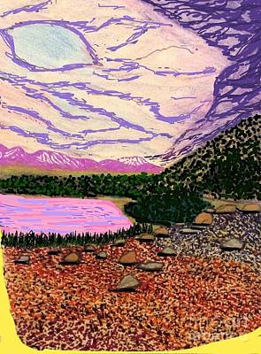 Snow-covered Landscape Mixed Media - Lake La Story by Ishy Christine