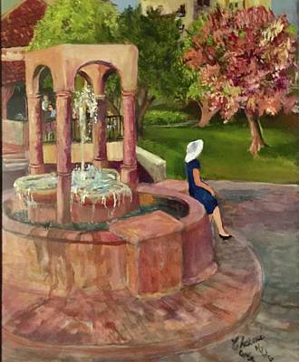Painting - Lake Las Vegas Fountain by Charme Curtin