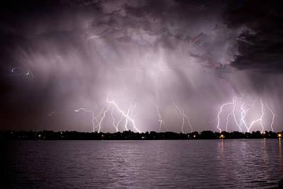 Lake Lightning Art Print