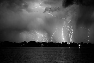Lake Lightning Two Bw Art Print by James BO  Insogna