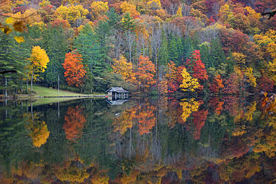 Lake Logan Boathouse In Fall Art Print by Mike McGlothlen