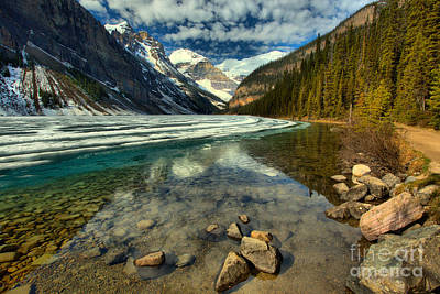 Photograph - Lake Loise Icy Spring Reflections by Adam Jewell