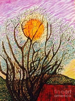 Lake Los Angeles Orange  Art Print by Ishy Christine Degyansky