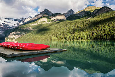 Canadian Rockies Photograph - Lake Louise Canoes by Joan Carroll