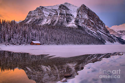 Photograph - Lake Louise Frosty Sunrise Reflections by Adam Jewell