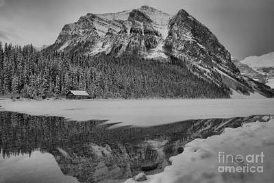 Photograph - Lake Louise Frosty Sunrise Reflections Black And White by Adam Jewell