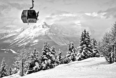 Photograph - Lake Louise Gondola In The Sky Black And White by Adam Jewell