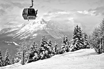 Photograph - Lake Louise Gondola Over The Snow Ghosts Black And White by Adam Jewell
