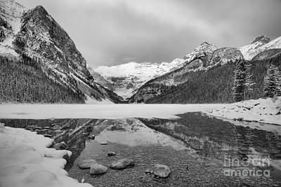 Photograph - Lake Louise Icy Reflections Black And White by Adam Jewell