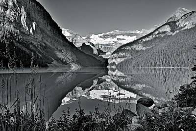 Photograph - Lake Louise In Black And White by Frozen in Time Fine Art Photography