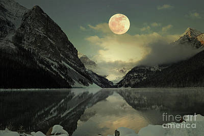 Lake Louise Moon Glow Art Print by Andrea Hazel Ihlefeld