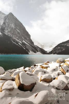 Photograph - Lake Louise Mountain Shore Landscape by Andrea Hazel Ihlefeld