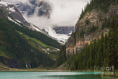 Photograph - Lake Louise Peaks Above by Mike Reid