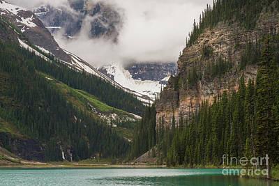 Moraine Lake Photograph - Lake Louise Peaks Above by Mike Reid