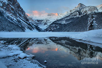 Photograph - Lake Louise Pink Winter Sunrise by Adam Jewell
