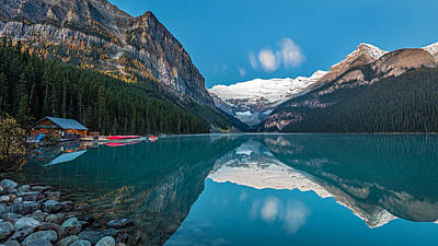 Photograph - Lake Louise Reflection At Dawn by Pierre Leclerc Photography
