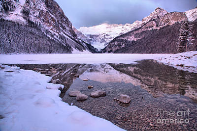 Photograph - Lake Louise Snowy Reflections by Adam Jewell