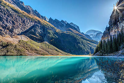 Photograph - Lake Louise Sunburst by Pierre Leclerc Photography