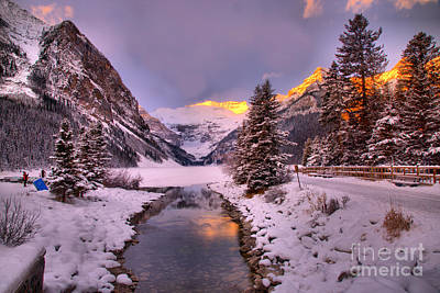 Photograph - Lake Louise Sunrise Glow by Adam Jewell