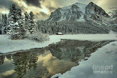 Photograph - Lake Louise Winter Mountain Reflections by Adam Jewell
