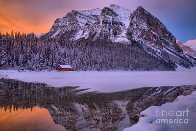 Photograph - Lake Louise Winter Sunrise Reflections by Adam Jewell