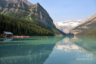 Photograph - Lake Louise With Boathouse by Carol Groenen
