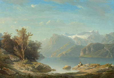 Painting - Lake Lucerne Near Brunnen With A View Of Seelisberg, The Rutli Meadow And The Engelberger Rotstock by Francois Diday