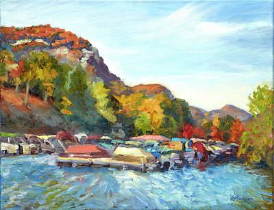 Asheville Painting - Lake Lure Marina Afternoon by Lisa Blackshear