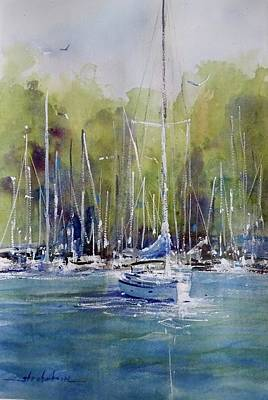 Painting - Lake Macatawa, July 2017 by Sandra Strohschein