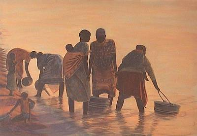 African Woman Painting - Lake Malawi Women At Sunrise by Nisty Wizy