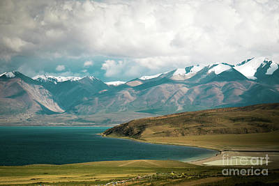 Roadblock Photograph - Lake Manasarovar Kailas Yantra.lv Tibet by Raimond Klavins