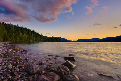 Photograph - Lake Mcdonald At Sunset Horizontal by Adam Mateo Fierro