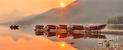 Photograph - Lake Mcdonald Fiery Sunset by Adam Jewell