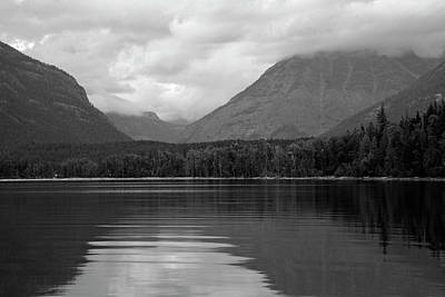 Photograph - Lake Mcdonald Reflection Black And White 02 by Bruce Gourley