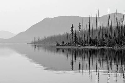 Photograph - Lake Mcdonald Twin Reflections Black And White by Bruce Gourley