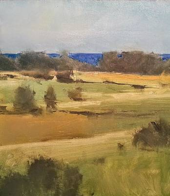 Painting -  Lake Michigan Across The Field by Jessica Anne Thomas