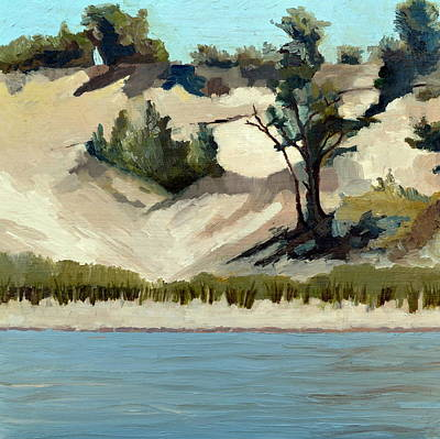 Art Print featuring the painting Lake Michigan Dune With Trees And Beach Grass by Michelle Calkins