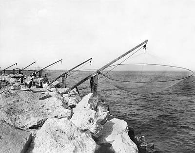 Photograph - Lake Michigan Fishing Nets by Underwood Archives