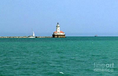 Photograph - Lake Michigan Light House by Haleh Mahbod