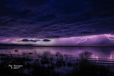Photograph - Lake Michigan Lightning by Peg Runyan